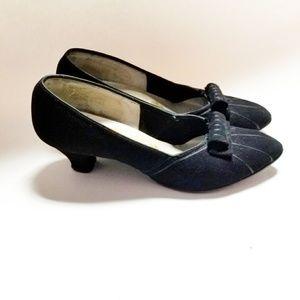 Vintage 60s Paradise Kittens Black Velvet Heels